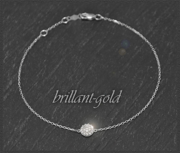 Brillant Armband, 0,15ct Diamanten, Weißgold
