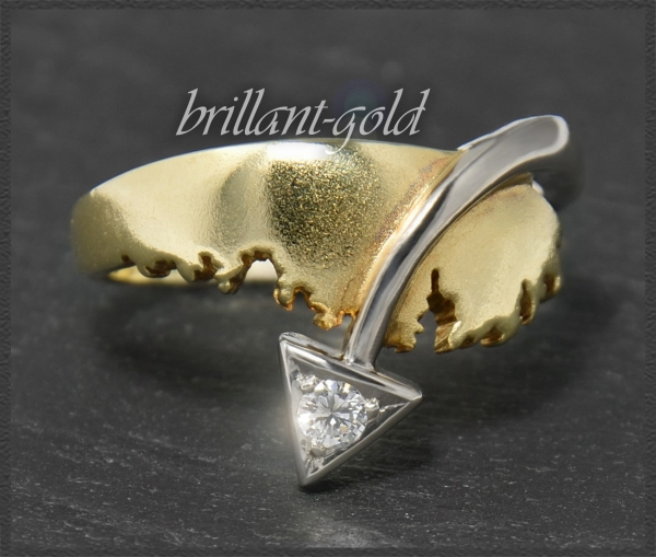 Diamant 585 Gold Bandring, Brillant mit 0,10ct
