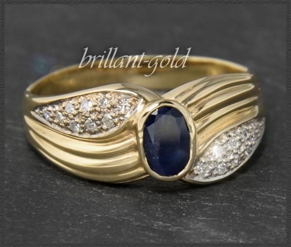Diamant & Saphir Ring mit 1,60ct, 585 Gold