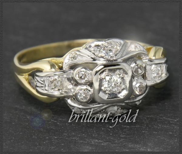 Vintage 0,40ct Diamant Ring, 585 Gold, um 1960