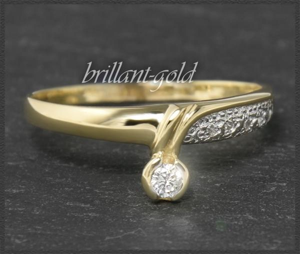 Brillant Ring, 0,15ct River & VS, 585 Gold