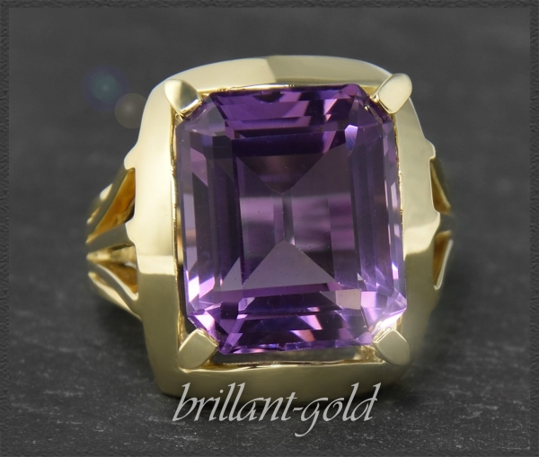 Amethyst Ring aus 585 Gold, Cocktailring, 12ct