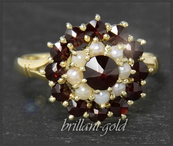 Granat & Perlen Cocktail Ring mit 1,50ct, Vintage