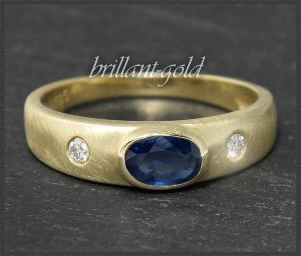 Brillant & Saphir Ring mit 1ct, 585 Gold Allianzring