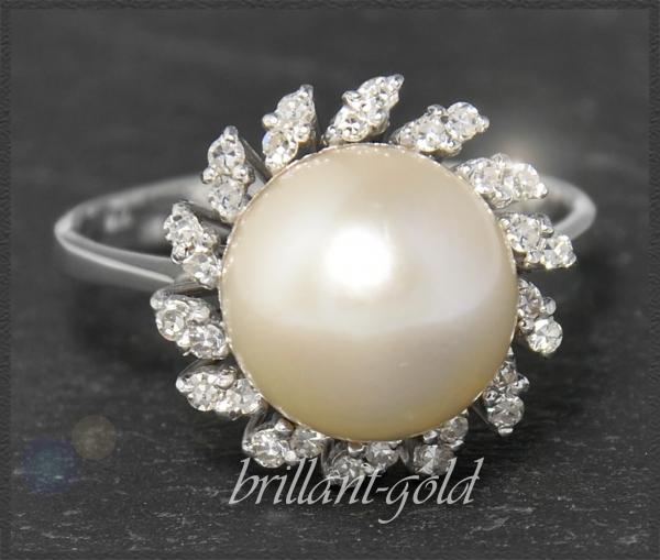 10mm Perle & 0,21ct Diamant Ring, 750 Gold