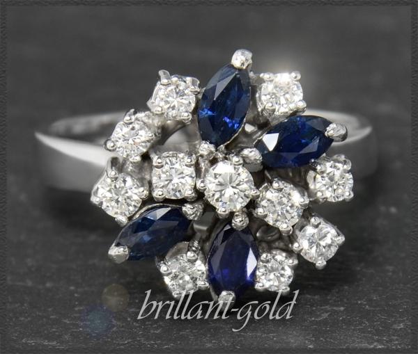 Diamant & Saphir Gold Ring mit 1,85ct, Handarbeit