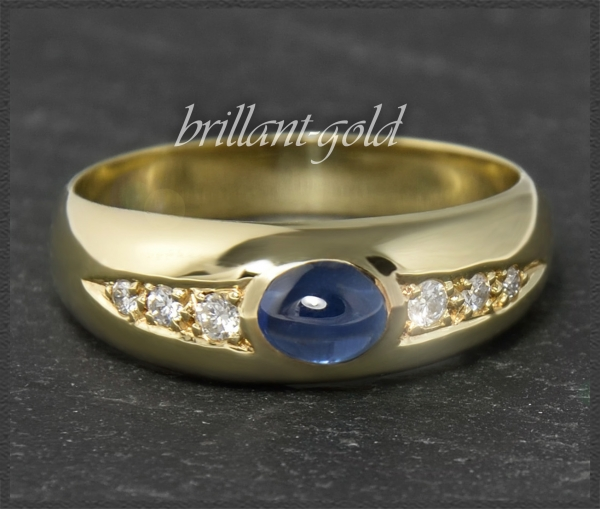 Diamant & Saphir Ring 0,77ct, 585 Gold Allianzring