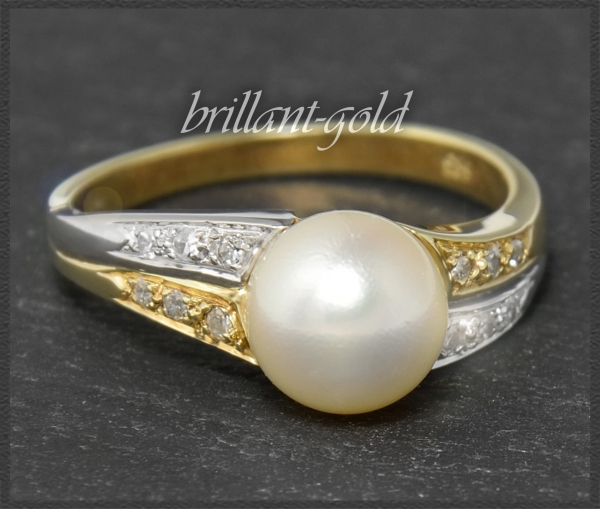 585 Gold Ring, weiße 8mm Perle, 0,11ct Diamanten