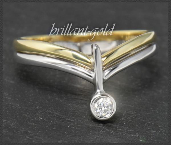 Brillant bicolor Gold Ring, 2,50mm Diamant
