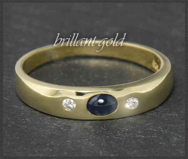Diamant & Saphir Ring 0,40ct, 585 Gold Allianzring