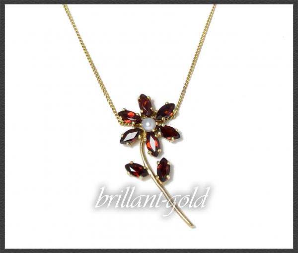 Vintage Blumen Gold Collier, 3ct Granate & Perle