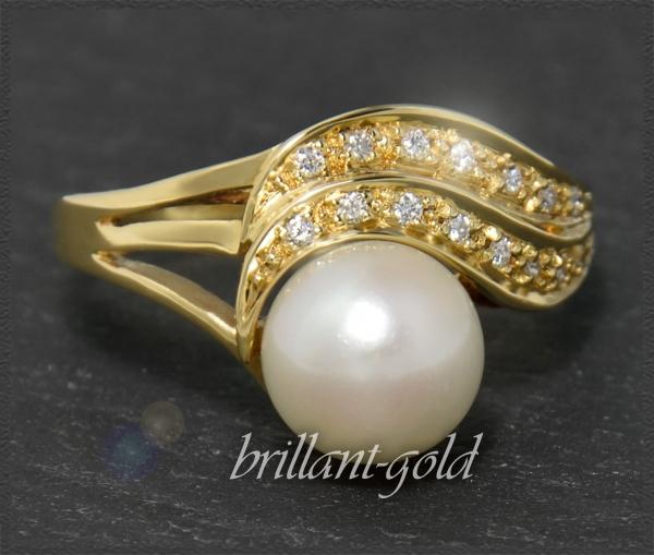 Diamant & 8mm Perlen Ring, Gold Cocktailring