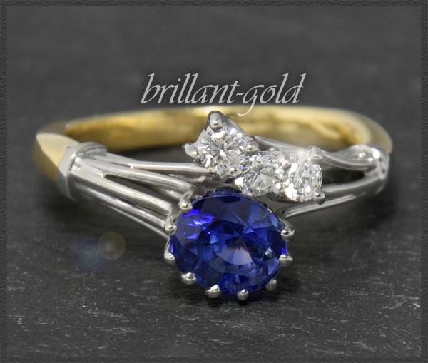 Brillant & Saphir Gold Ring mit 2,07ct, Handarbeit