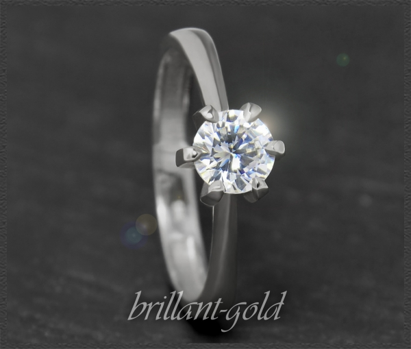 Brillant 585 Gold Ring; 0,74ct, Top Wesselton; Si2