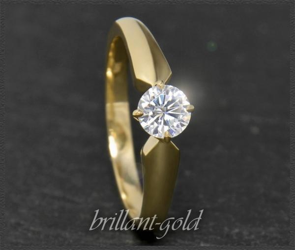 Brillant 585 Gold Ring 0,46ct, Si1; DGI Zertifikat