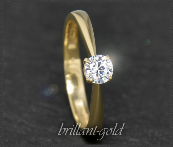 Brillant 585 Gold Ring; 0,35ct, River D, Si2
