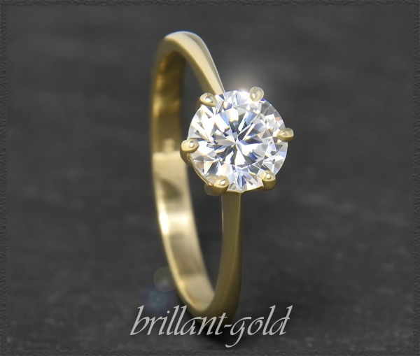 Brillant 585 Gold Ring; 1,14ct, Si2; Verlobungsring