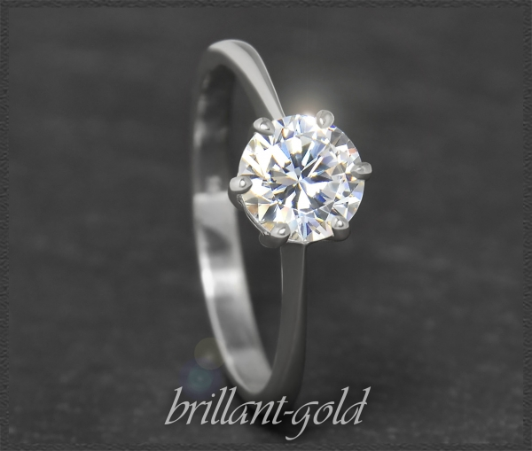 Brillant 585 Gold Ring 1,14ct; Wesselton H, Si1