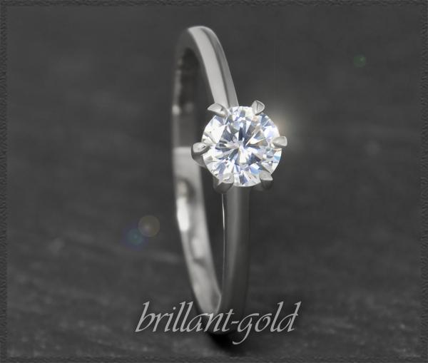 Brillant 585 Gold Ring; 0,62ct, Si1; DGI Zertifikat