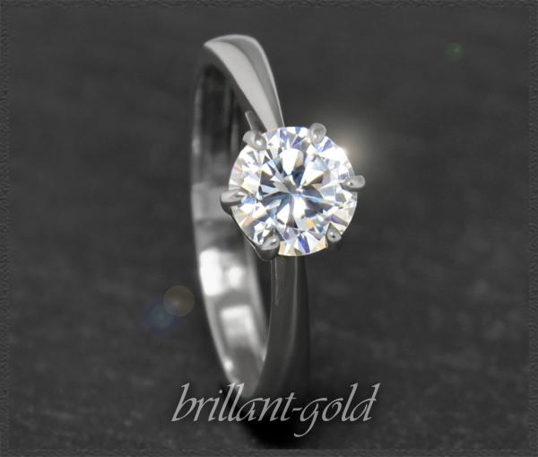 Brillant 585 Gold Ring 0,95ct, River, Lupenrein