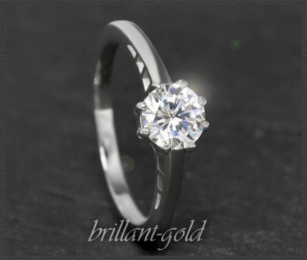 Brillant 585 Gold Ring 0,99ct, Top Wesselton F, Si