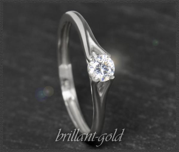 Brillant 585 Gold Ring 0,25ct, River E, Lupenrein