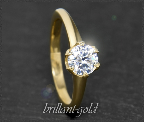 Brillant 585 Gold Ring mit 1,02ct, Si2; Solitärring