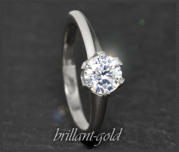 Brillant 585 Weißgold Ring, 1,03ct, Si1