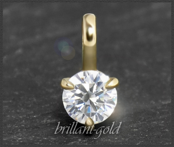 Diamant 585 Gelbgold Anhänger 0,34ct, Lupenrein