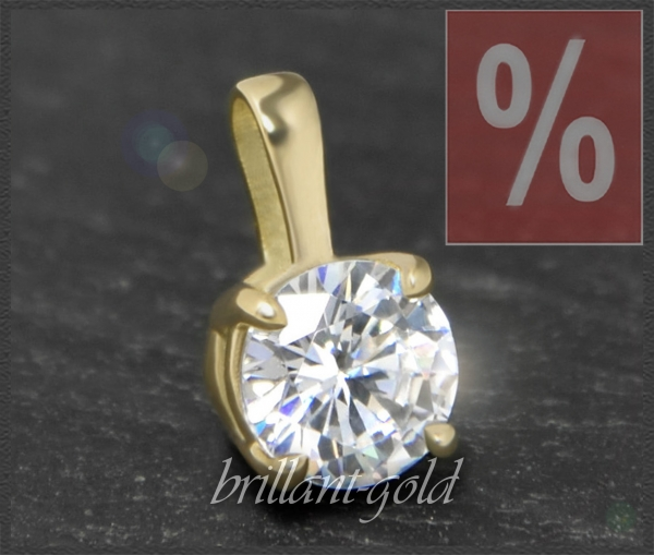Brillant 585 Gold Anhänger 1,04 ct, River D, VVS