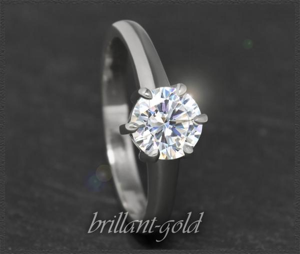 Brillant Solitär 585 Weißgold Ring 1,02ct, Si1