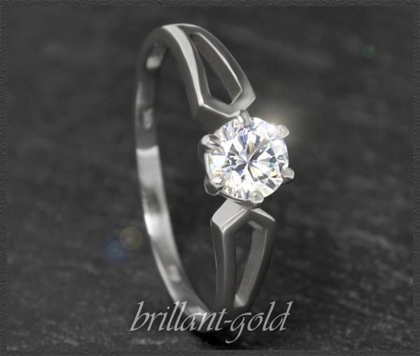 Brillant Solitär 585 Weißgold Ring 0,58ct, VS2