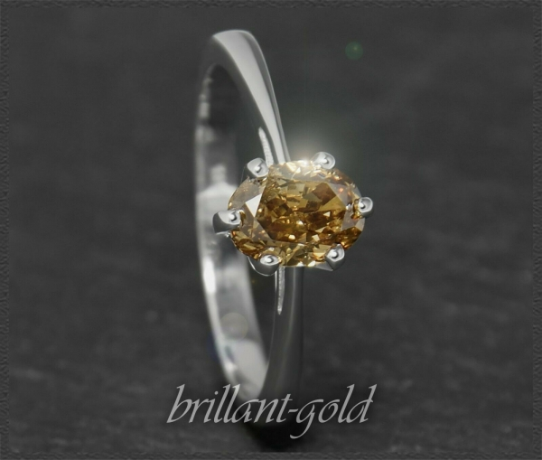 Diamant Ring 585 Gold, oval 1,06ct champagner