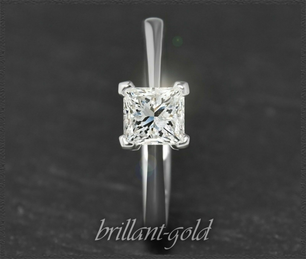Diamant Ring, Prinzess Solitär 0,70ct, 585 Gold