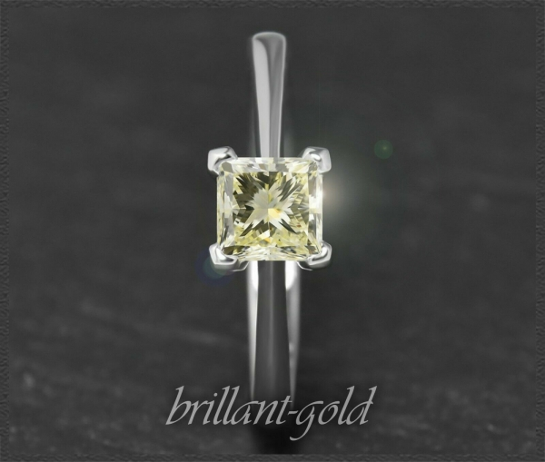 Diamant Ring, lupenreiner Prinzess 0,81ct, 585 Gold
