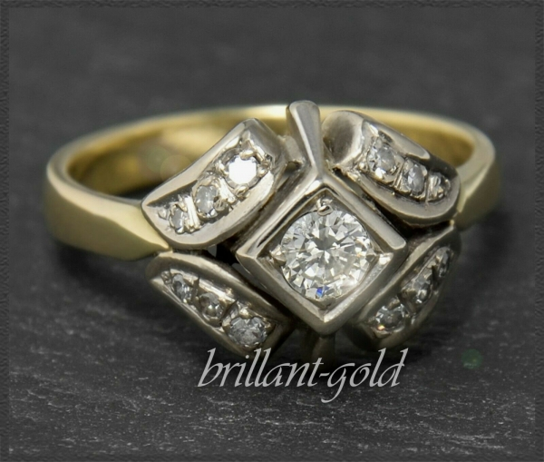 Brillant Ring Antik, 0,45ct lupenrein, ca 1920