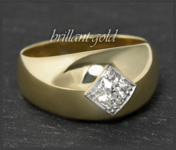 Antiker Diamant Solitär Ring, massiv 12,4g 585 Gold
