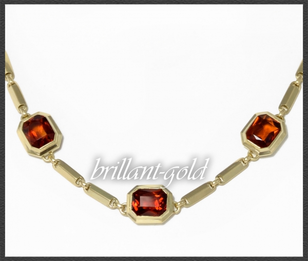Orange Citrin Collier Kette mit 12,5ct, 585 Gelbgold