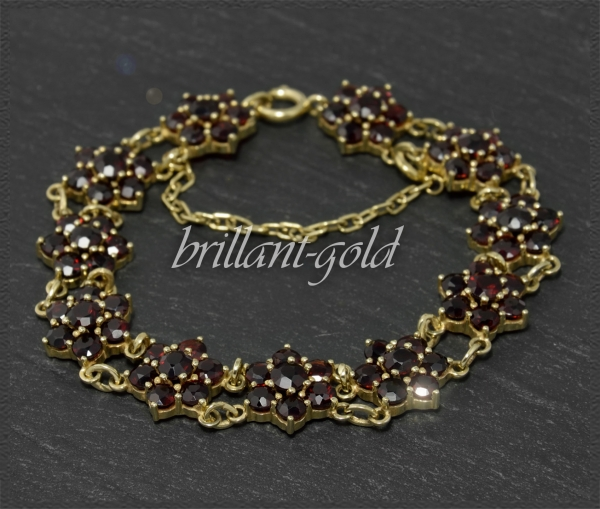 20ct Granat Damen Gold Armband, Antik um 1930