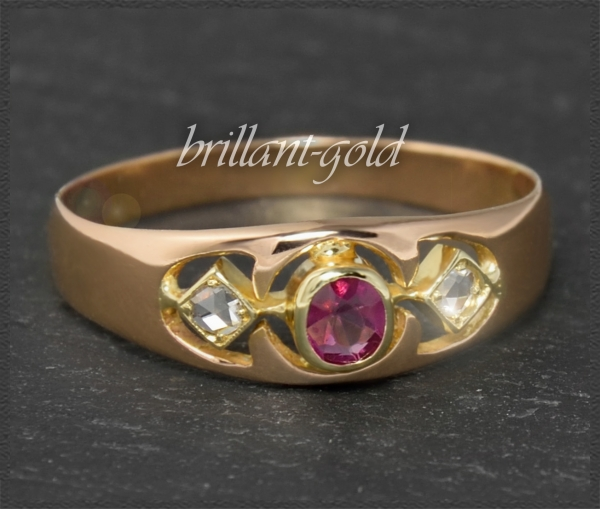 Antiker (um 1900) Diamant & Rubin Ring, 585 Gold