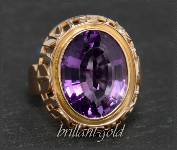 12ct Amethyst Cocktail Ring 585 Gold, Vintage