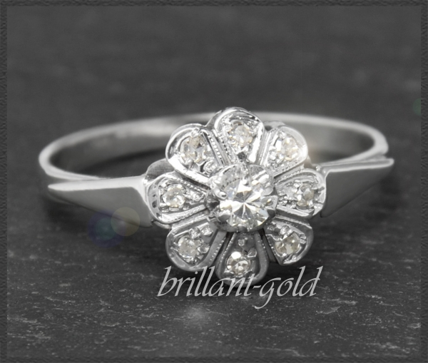 Antiker 0,25ct Blumen Diamant Ring um 1920