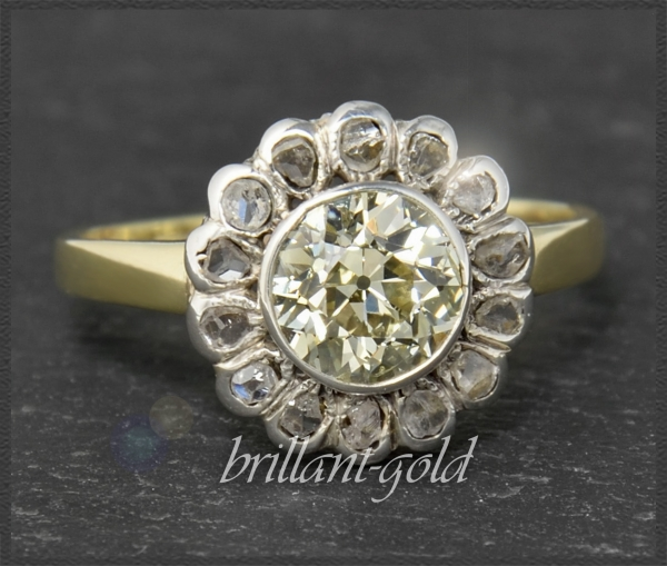 Antiker(um 1880) 1,60ct Diamant Ring, Gold & Silber