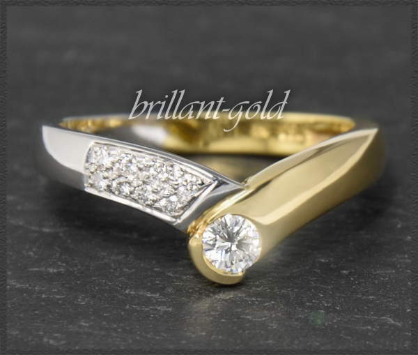 Diamant 750 Gold Ring, 0,30ct Brillanten River & VVS