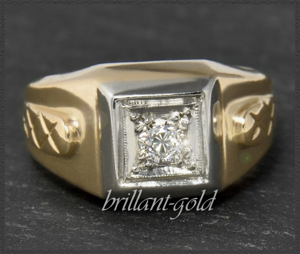 Diamant 585 Gold Ring 0,30ct, VS; Vintage