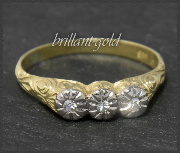 Antik Jugendstil Diamant Ring, um 1920, 585 Gold