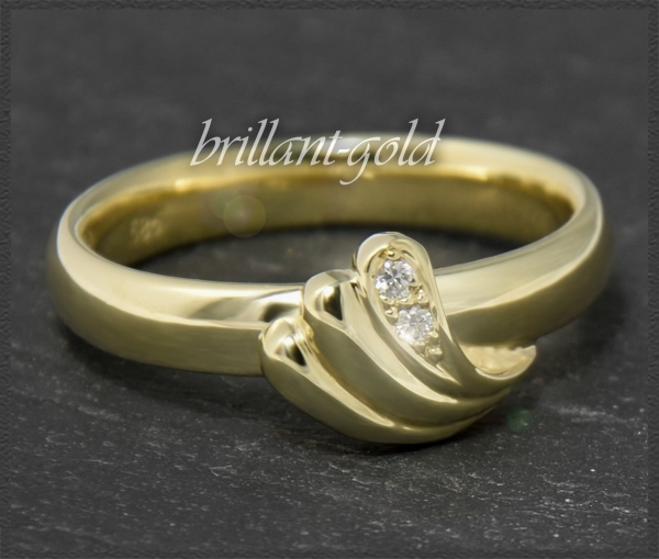 Diamant Ring aus 585 Gold mit 2 Brillanten