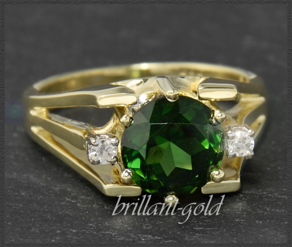 Diamant & Turmalin Ring mit 2,50ct, 585 Gelbgold