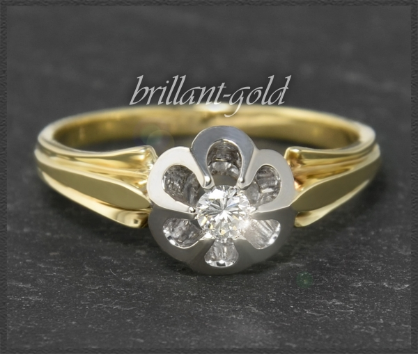 Vintage Diamant Ring, 0,16ct Brillant, Gold & Platin