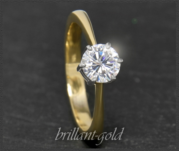 Brillant 585 Gold Ring, 0,84ct, River E; Solitärring